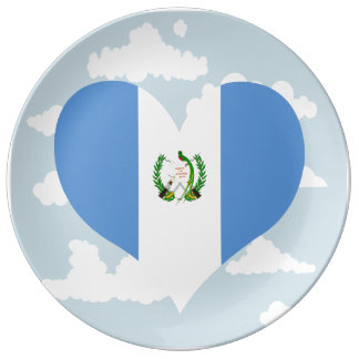Guatemalan Flag on a cloudy background Dinner Plate