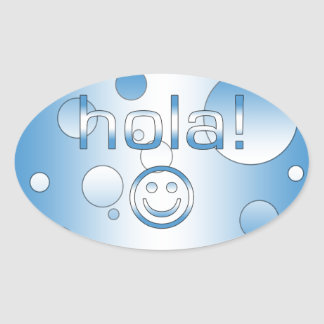 Guatemalan Gifts : Hello / Hola + Smiley Face Oval Sticker