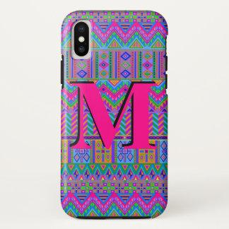 Guatemalan Tribal Monogram ifonX Chic Typography iPhone X Case