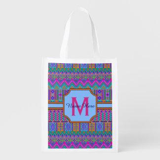 Guatemalan Tribal Monogram Multi-Purpose Girly Grocery Bag