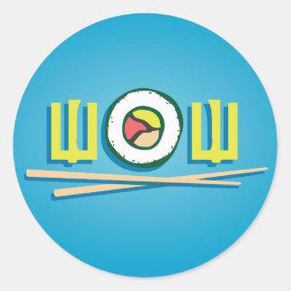 ¡Guau! ¡Sushi! Pegatina Redonda