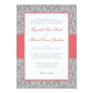 Guava and Gray Damask Swirl Wedding Invitation