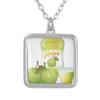 Guava juice square pendant necklace