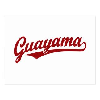 Guayama script logo in red postcard