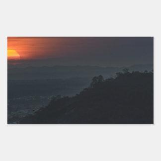 Guayaquil Aerial Landscape Sunset Scene Rectangular Sticker