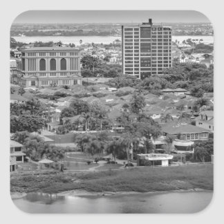 Guayaquil Aerial View from Window Plane Square Sticker