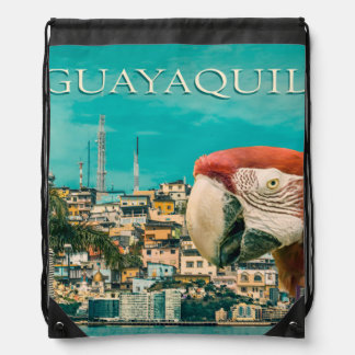 Guayaquil Touristic Postal Design Drawstring Backpack