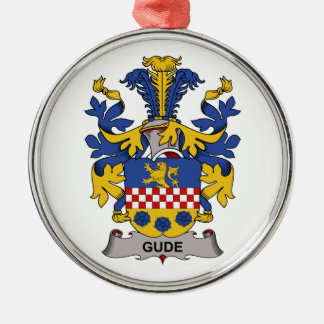 Gude Family Crest Round Metal Christmas Ornament