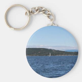 Guemes Island Ferry Basic Round Button Keychain