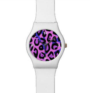 Guepardo abstracto azul de las rosas fuertes relojes de mano