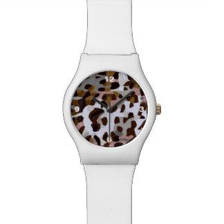 Guepardo abstracto gris negro de Brown Relojes De Pulsera