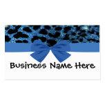 Guepardo azul del brillo con la tarjeta de visita