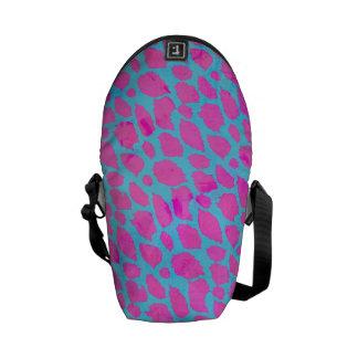 Guepardo azul rosado fluorescente bolsas messenger