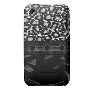 Guepardo de lujo Bling de Blk&Wht iPhone 3 Case-Mate Cárcasas