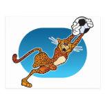 Guepardo del fútbol del dibujo animado tarjeta postal