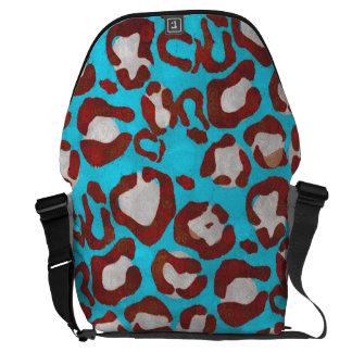 Guepardo fluorescente del rojo azul bolsa de mensajería