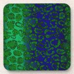 Guepardo fluorescente del verde azul posavaso