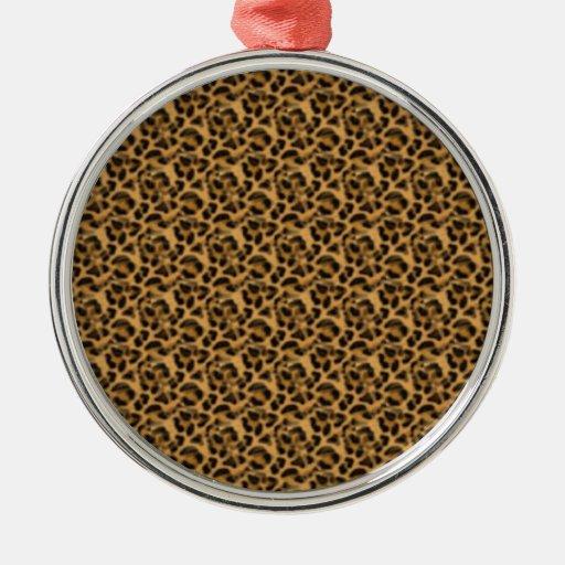 Guepardo-impresión-animal-piel del personalizado adorno navideño redondo de metal