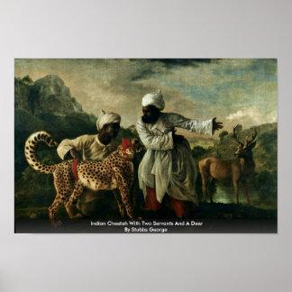 Guepardo indio con dos criados y un ciervo posters