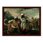 Guepardo indio con dos criados y un ciervo postal