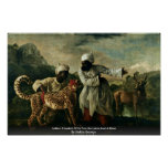 Guepardo indio con dos criados y un ciervo póster