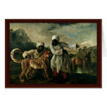 Guepardo indio con dos criados y un ciervo tarjeta de felicitación