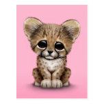 Guepardo lindo Cub del bebé en rosa Tarjetas Postales