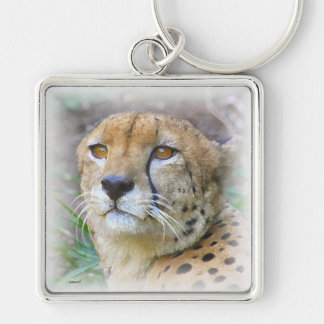 guepardo llavero cuadrado plateado