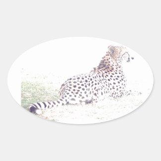Guepardo Pegatina Ovalada