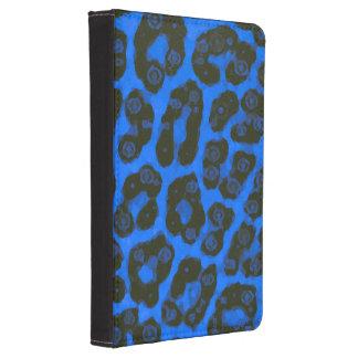 Guepardo pintado brillante del negro azul funda de kindle