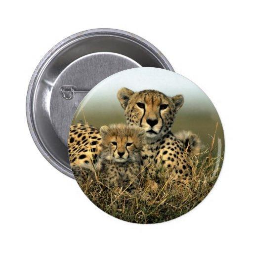 Guepardo y Cub Pin Redondo 5 Cm