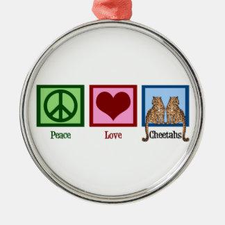 Guepardos del amor de la paz adorno navideño redondo de metal