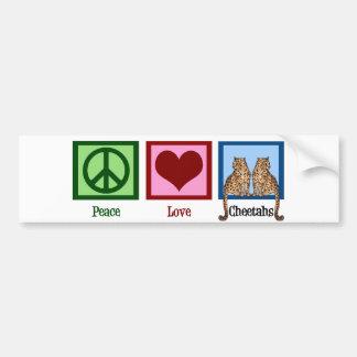 Guepardos del amor de la paz pegatina de parachoque