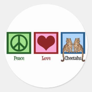 Guepardos del amor de la paz pegatina redonda