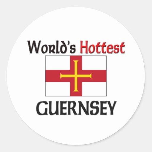 Guernesey más caliente del mundo etiquetas redondas