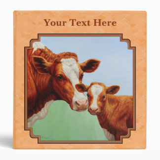 Guernsey Calf and Mother Cow Peach 3 Ring Binder
