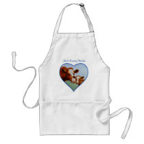Guernsey Cow and Calf Blue Heart Adult Apron