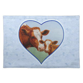 Guernsey Cow and Calf Blue Heart Placemat