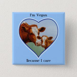 Guernsey Cow and Calf Vegan Pinback Button