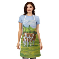 Guernsey Cow & Cute Calf in Summer Pasture Apron