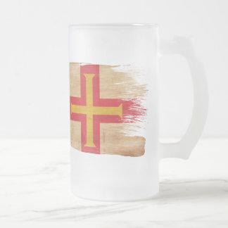 Guernsey Flag 16 Oz Frosted Glass Beer Mug