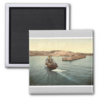 Guernsey, St. Peter's Port, arrival of boats, Chan 2 Inch Square Magnet