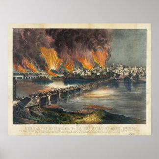 Guerra civil americana la caída Richmond de abril Póster
