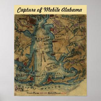 Guerra civil - captura de Alabama móvil - mapa Poster