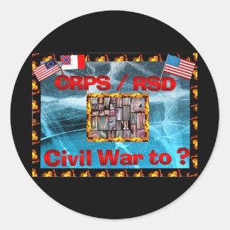 ¿Guerra civil de CRPS a? Figuras ardientes Pegatina Redonda