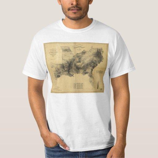 Guerra civil de los estados sureños del mapa de la camisas