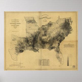 Guerra civil de los estados sureños del mapa de la poster
