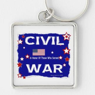 Guerra civil - en honor llavero cuadrado plateado