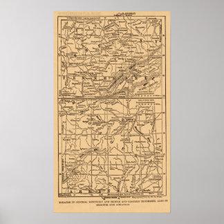 Guerra civil Kentucky y Tennessee medio y del este Póster