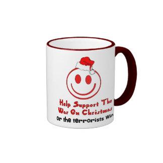 Guerra de la ayuda en navidad taza de café
